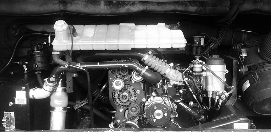 Close up of bus engine for repair